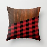 wooden Throw Pillows featuring Wooden Lumberjack by Nicklas Gustafsson