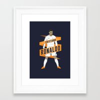 real madrid Framed Art Prints featuring Cristiano Ronaldo - Real Madrid  by KieranCarrollDesign
