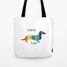 Rainbow Weenie Tote Bag