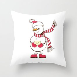 Snowman holding envelope Christmas design Throw Pillow