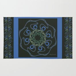 Hope Mandala with Border - Blue Black Rug