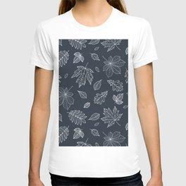 Hand drawn elegant white navy blue maple leaves T-shirt