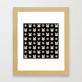 Corgi welsh corgi daisy flowers spring summer florals dog breed pet portrait by pet friendly Framed Art Print