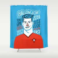 ronaldo Shower Curtains featuring CR7 by hugraphic