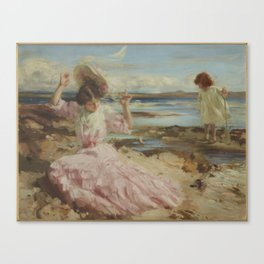 By summer seas, circa 1904, Scotland, by Charles Sims Canvas Print