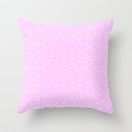 Pink and White Valentines Love Heart and Arrow Throw Pillow
