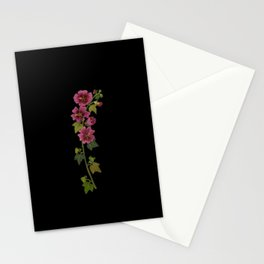 Malva Sylvestris Mary Delany Delicate Paper Flower Collage Black Background Floral Botanical Stationery Cards