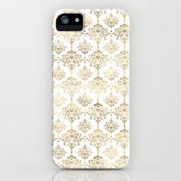 White & Gold Motif iPhone Case