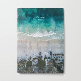Tulum Beachfront, Mexico Travel Artwork Metal Print
