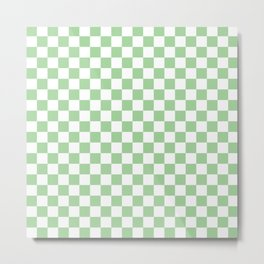 Mint Checkerboard Pattern Metal Print