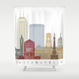 Indianapolis skyline poster Shower Curtain