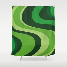 70's Green Vibe Shower Curtain