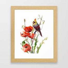 Cardinal Bird And Poppy Flowers Framed Art Print