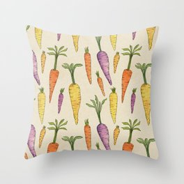 Heirloom Carrots on Cream Throw Pillow