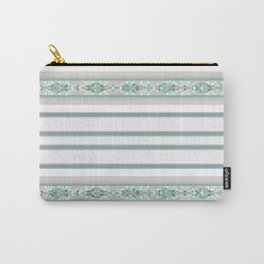 Decorative Teal Grey Stripe Pattern Carry-All Pouch