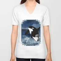 killer whale V-neck T-shirts featuring Killer Whale Orca by Aquamarine Studio