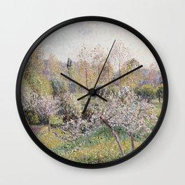 Camille Pissarro - Apple Trees In Blossom  Eragny Wall Clock