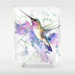 Hummingbird and Soft Purple Flowers Shower Curtain