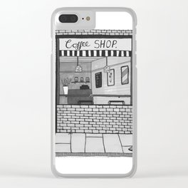 London Coffee Shop in Black and White Clear iPhone Case