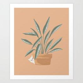 Hidden cat 8 Plants and pot leuconeura calathea Art Print