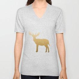 Standing Gold Deer Unisex V-Neck