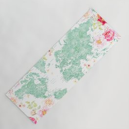 Mint green and hot pink watercolor world map with cities Yoga Mat