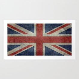 UK Flag, Dark grunge 1:2 scale Art Print
