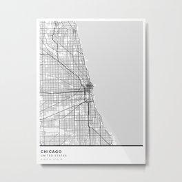 Chicago Simple Map Metal Print