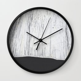 Scratched White Plaster and Charcoal Grey Lined Pattern Wall Clock