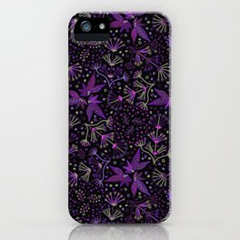 Purple Night Glow Flower Meadow , Rich Fuchsia Pink and Lilac Blooms Glowing in the Dark Black Night iPhone Case