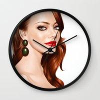 emma stone Wall Clocks featuring Emma Stone by RachelHam