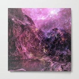 Galaxy Mountains. Burgundy Purple Metal Print