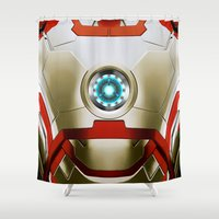 iron man Shower Curtains featuring IRON MAN Iron Man by Veylow