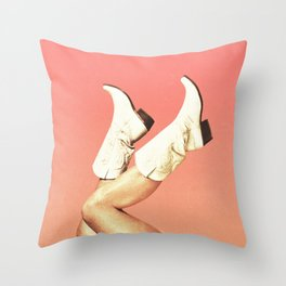 These Boots - Living Coral Throw Pillow
