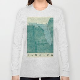Florida State Map Blue Vintage Long Sleeve T-shirt