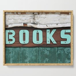 Rustic Aqua Birch Bark Book Art Serving Tray