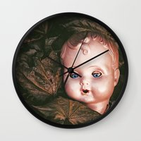 creepy Wall Clocks featuring Creepy Doll by Maria Heyens
