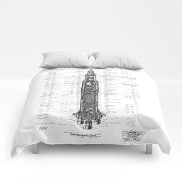 Apollo 11 Saturn V Blueprint in High Resolution (white) Comforters