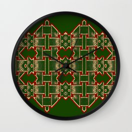 Weave on green background-2 Wall Clock