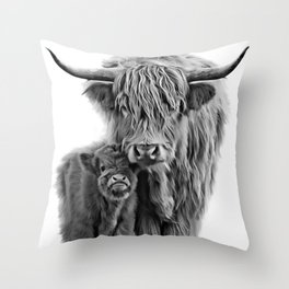 Highland Cow and The Baby Throw Pillow