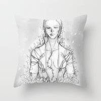 "metal gear solid Throw Pillows featuring Metal gear Solid ""The Boss"" by Psychohpeliac"
