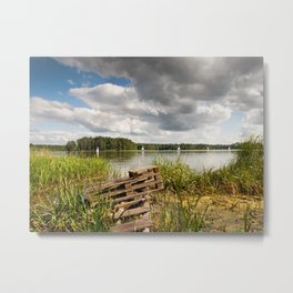 Old bridge and boats at the lake Metal Print
