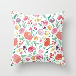 Peony Roses and Floral blooms Throw Pillow