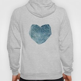 Heart Graphic Watercolor Blue Hoody