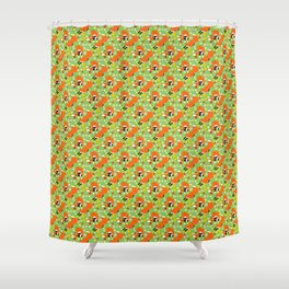 A pair of foxes on field. One stretches, the other licks his paw.  Shower Curtain