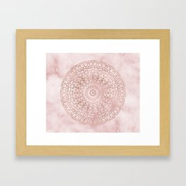 Misty pink marble rose gold mandala Framed Art Print