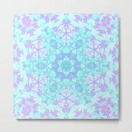 Cyan, Turquoise, and Purple Snowflake Metal Print