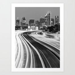 Dallas Downtown City Skyline - Monochrome - Black and White Art Print