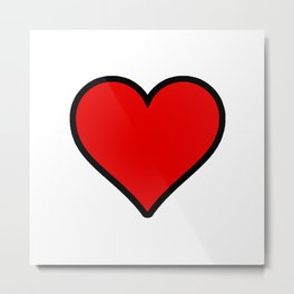 Bold Red Heart Shape Valentine Digital Illustration, Minimal Art Metal Print