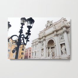 Trevi Fountain with Light Metal Print